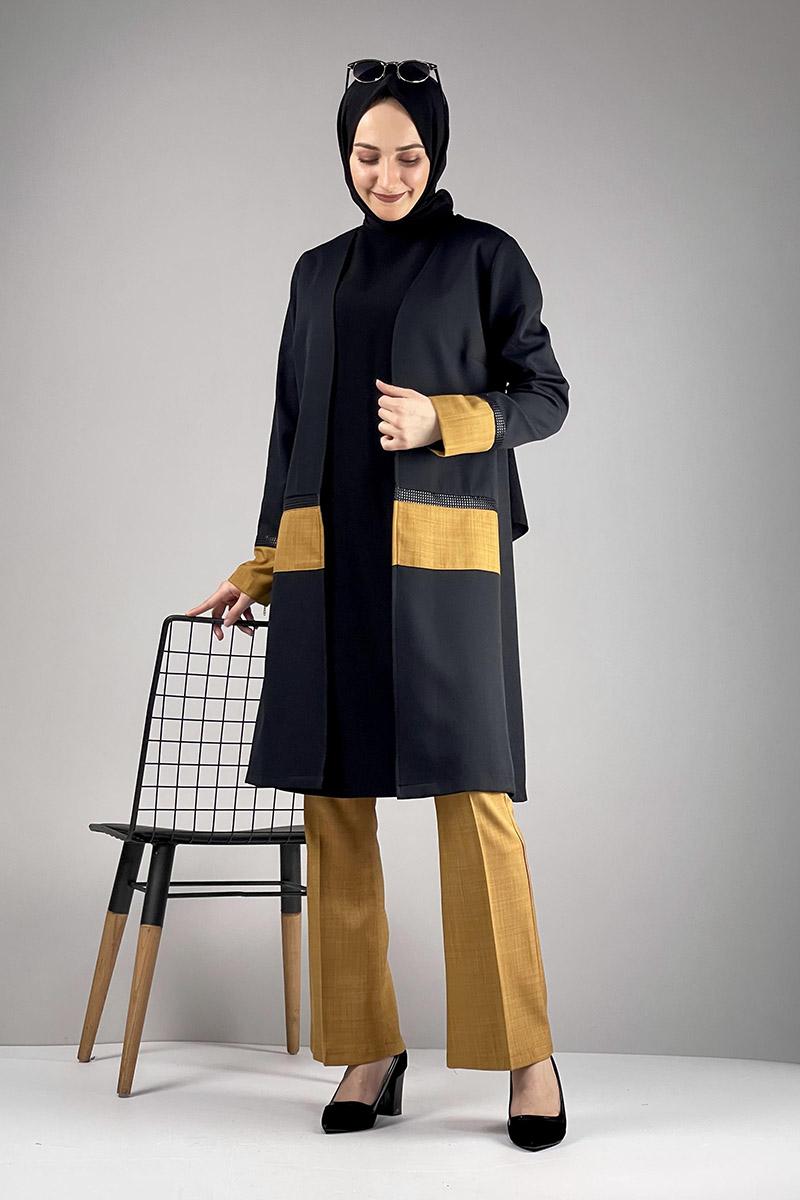 Moda Pinhan - Tesettür Üçlü Takım Siyah Hardal (1)
