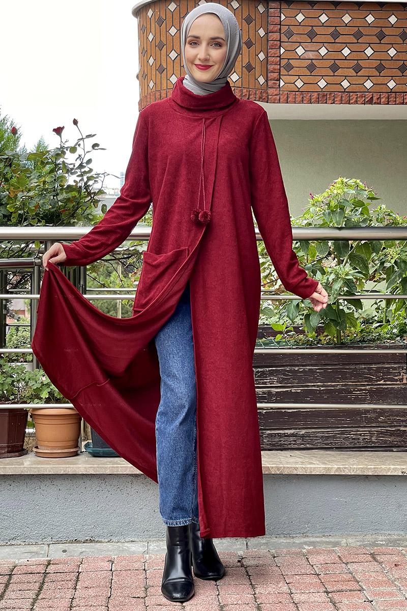 Moda Pinhan - Triko Elbise Bordo (1)