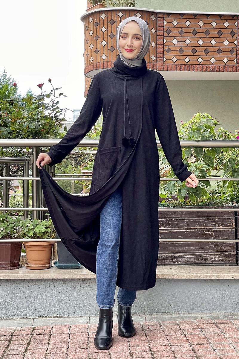Moda Pinhan - Triko Elbise Siyah (1)
