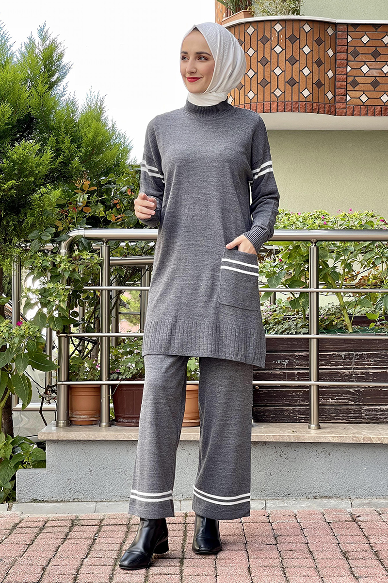 Moda Pinhan - Triko İkili Takım Antrasit (1)