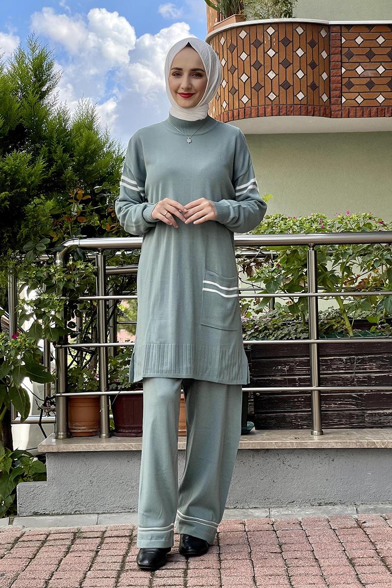 Moda Pinhan - Triko İkili Takım Çağla Yeşili (1)
