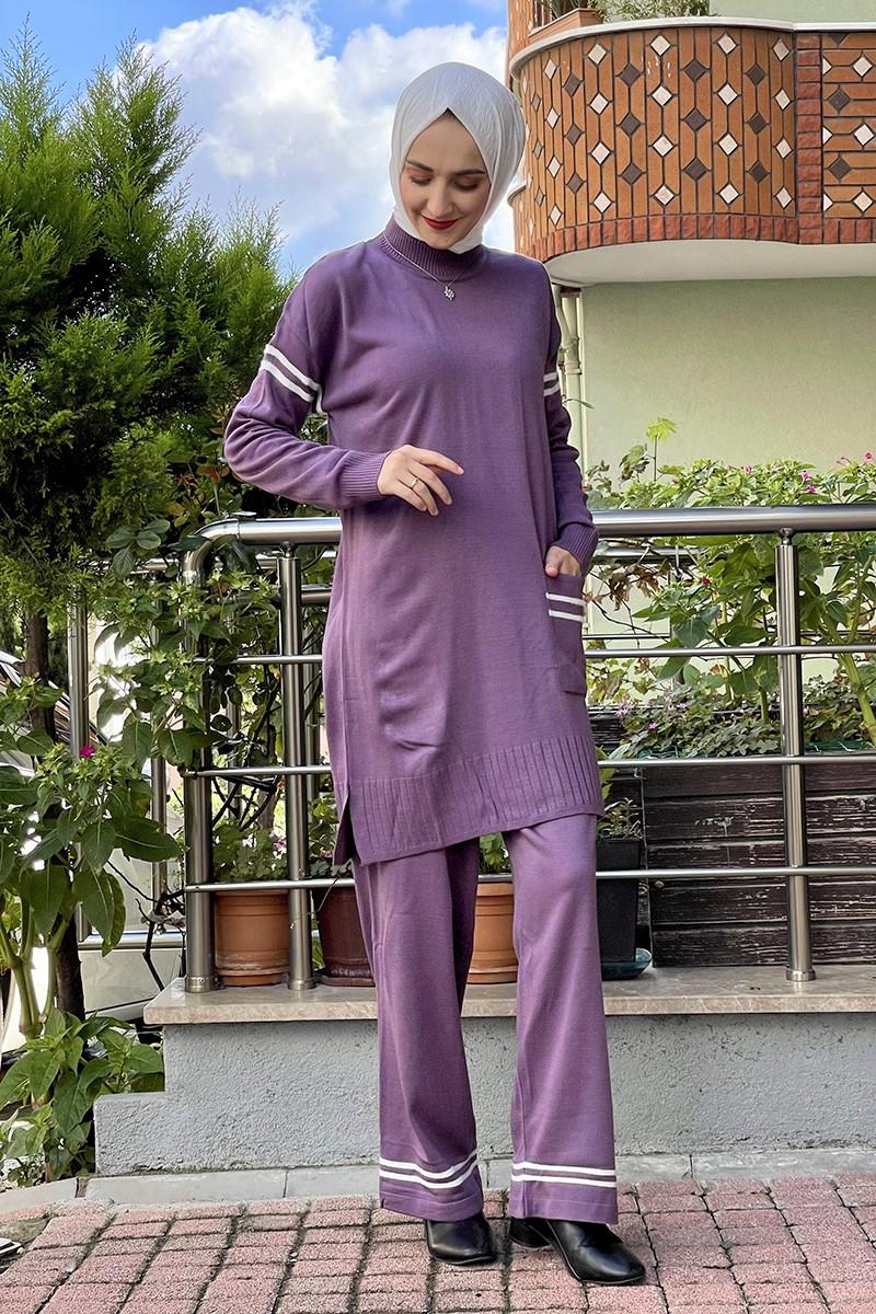 Moda Pinhan - Triko İkili Takım Lila (1)