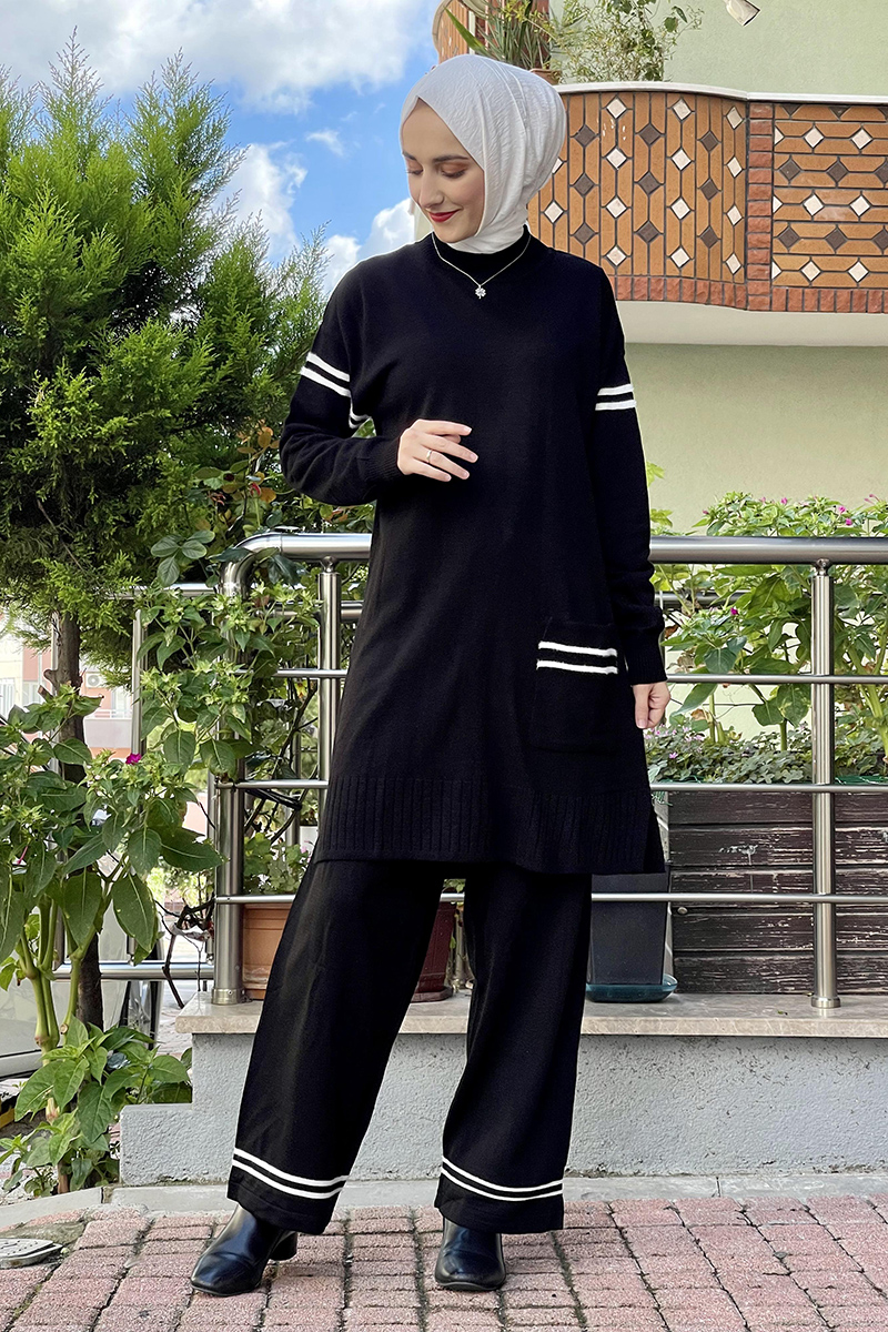 Moda Pinhan - Triko İkili Takım Siyah (1)