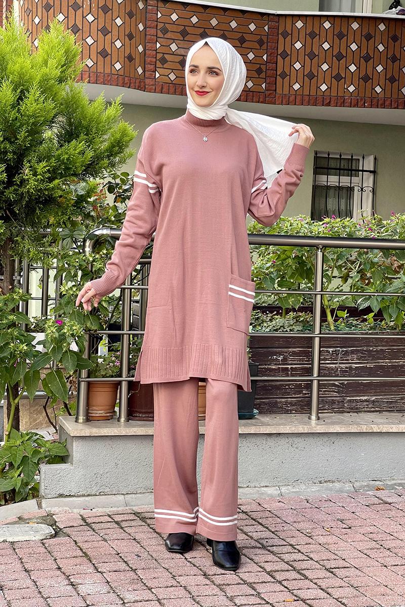 Moda Pinhan - Triko İkili Takım Somon (1)