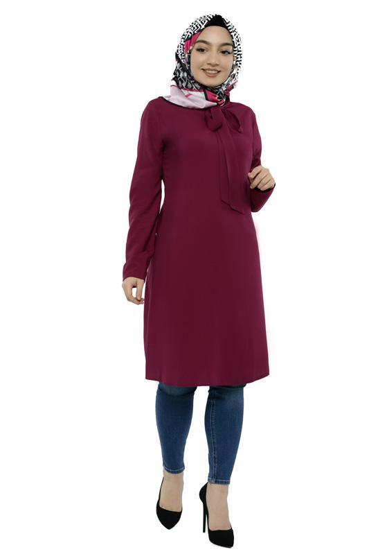 Moda Pinhan - Yakası Bağlamalı Tesettür Tunik Mürdüm (1)