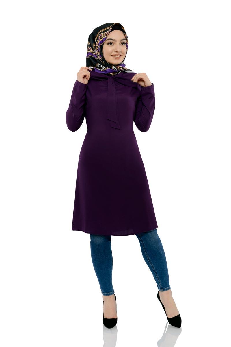Moda Pinhan - Yakası Bağlamalı Tesettür Tunik Mor (1)