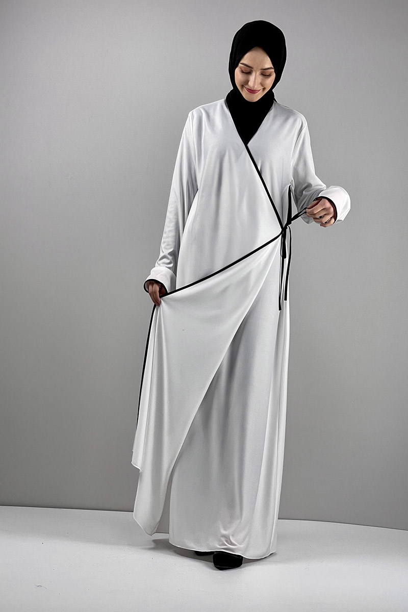 Moda Pinhan - Yandan Bağlamalı Namaz Elbisesi Beyaz (1)