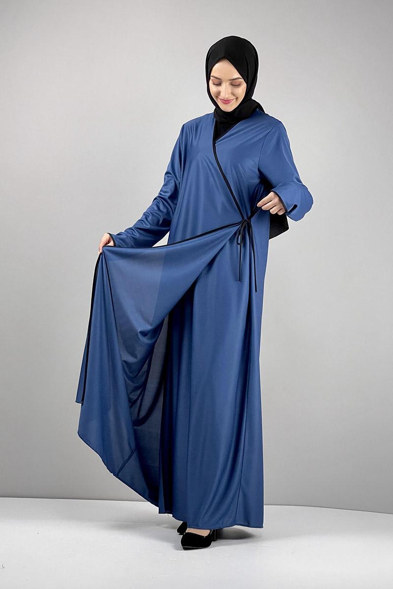 Moda Pinhan - Yandan Bağlamalı Namaz Elbisesi İndigo (1)