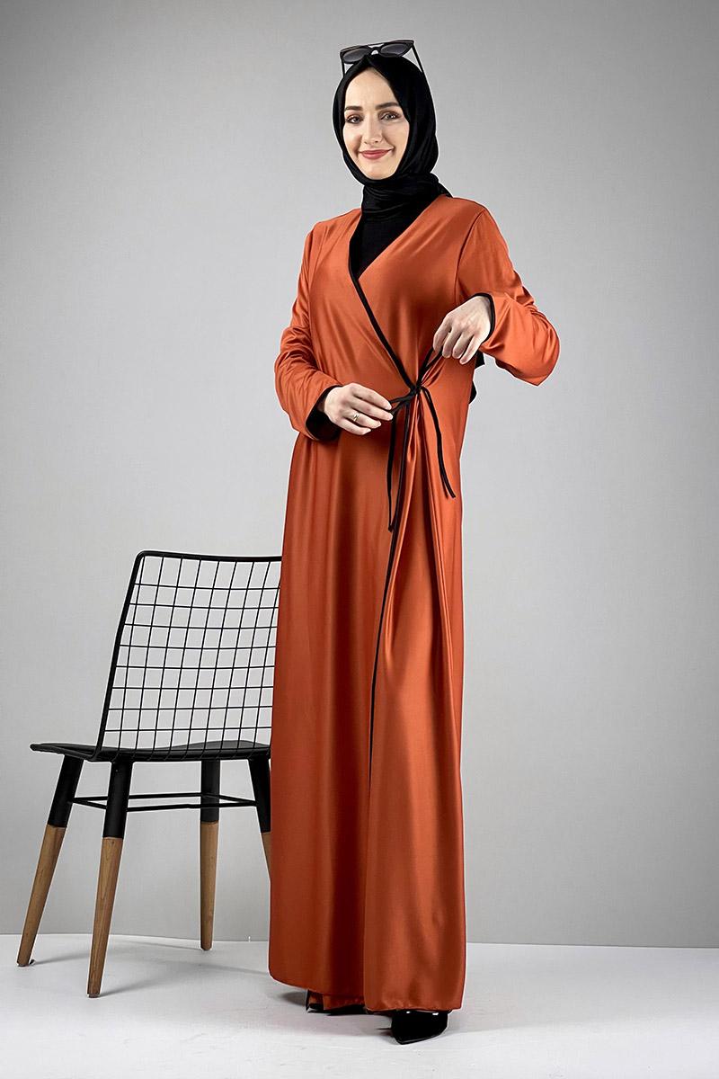 Moda Pinhan - Yandan Bağlamalı Namaz Elbisesi Kiremit (1)