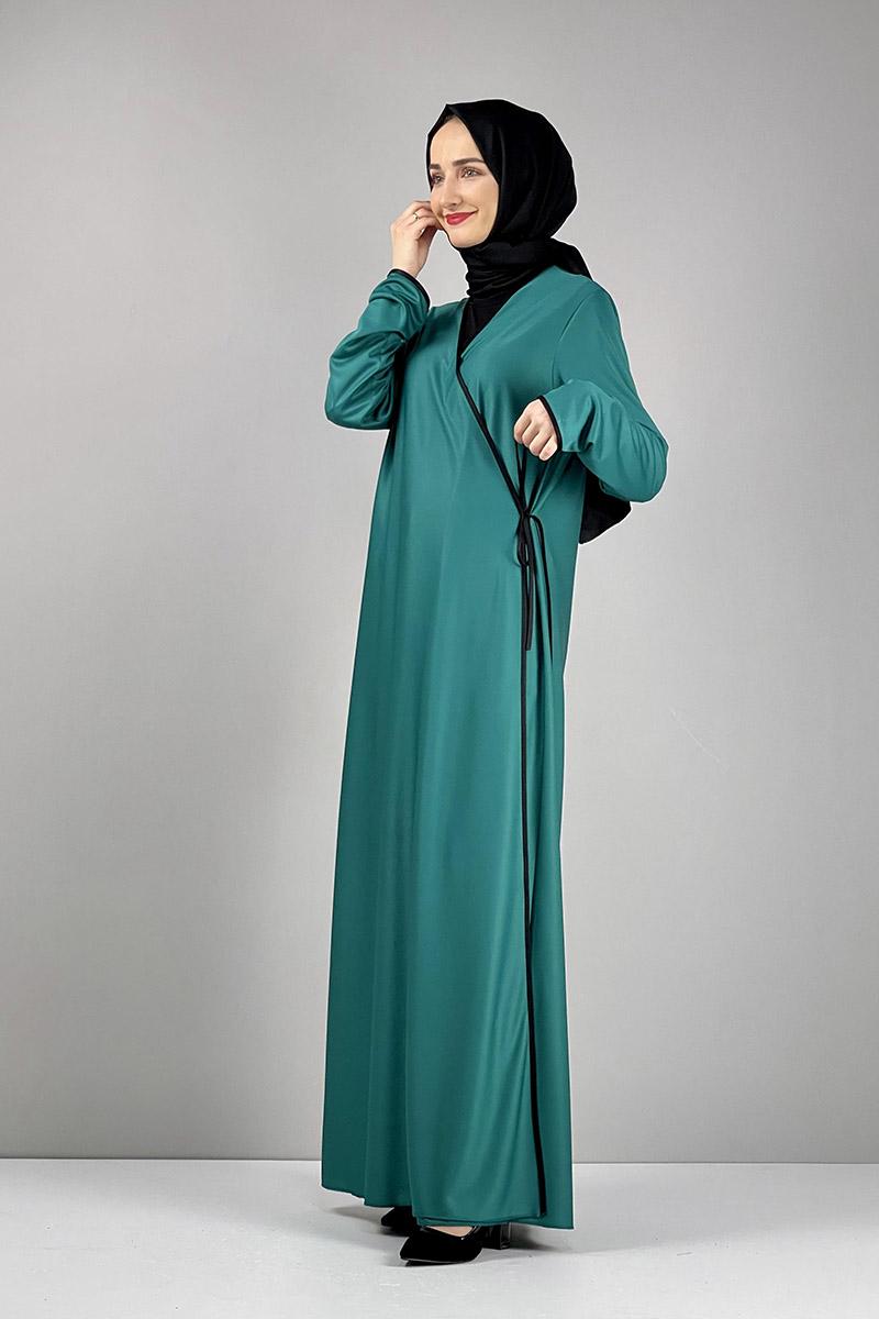 Moda Pinhan - Yandan Bağlamalı Namaz Elbisesi Yeşil (1)