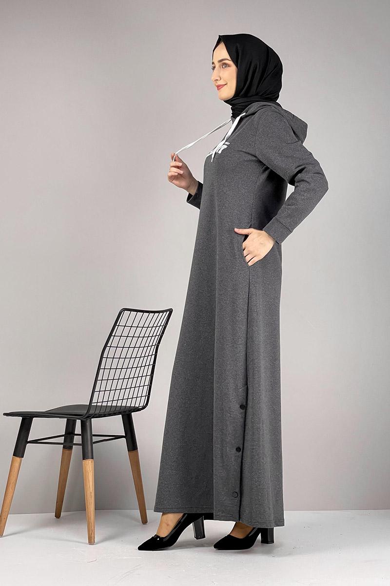 Moda Pinhan - Yırtmaç Detaylı Spor Elbise Antrasit (1)