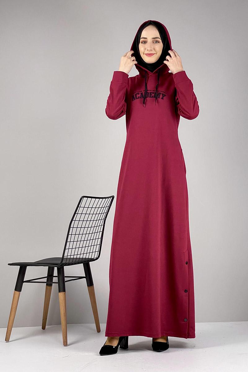Moda Pinhan - Yırtmaç Detaylı Spor Elbise Bordo (1)