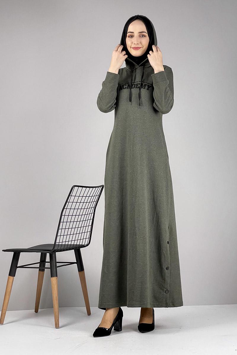 Moda Pinhan - Yırtmaç Detaylı Spor Elbise Haki (1)