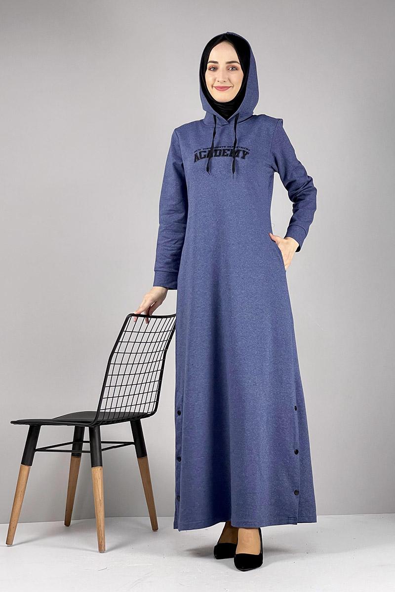 Moda Pinhan - Yırtmaç Detaylı Spor Elbise İndigo (1)