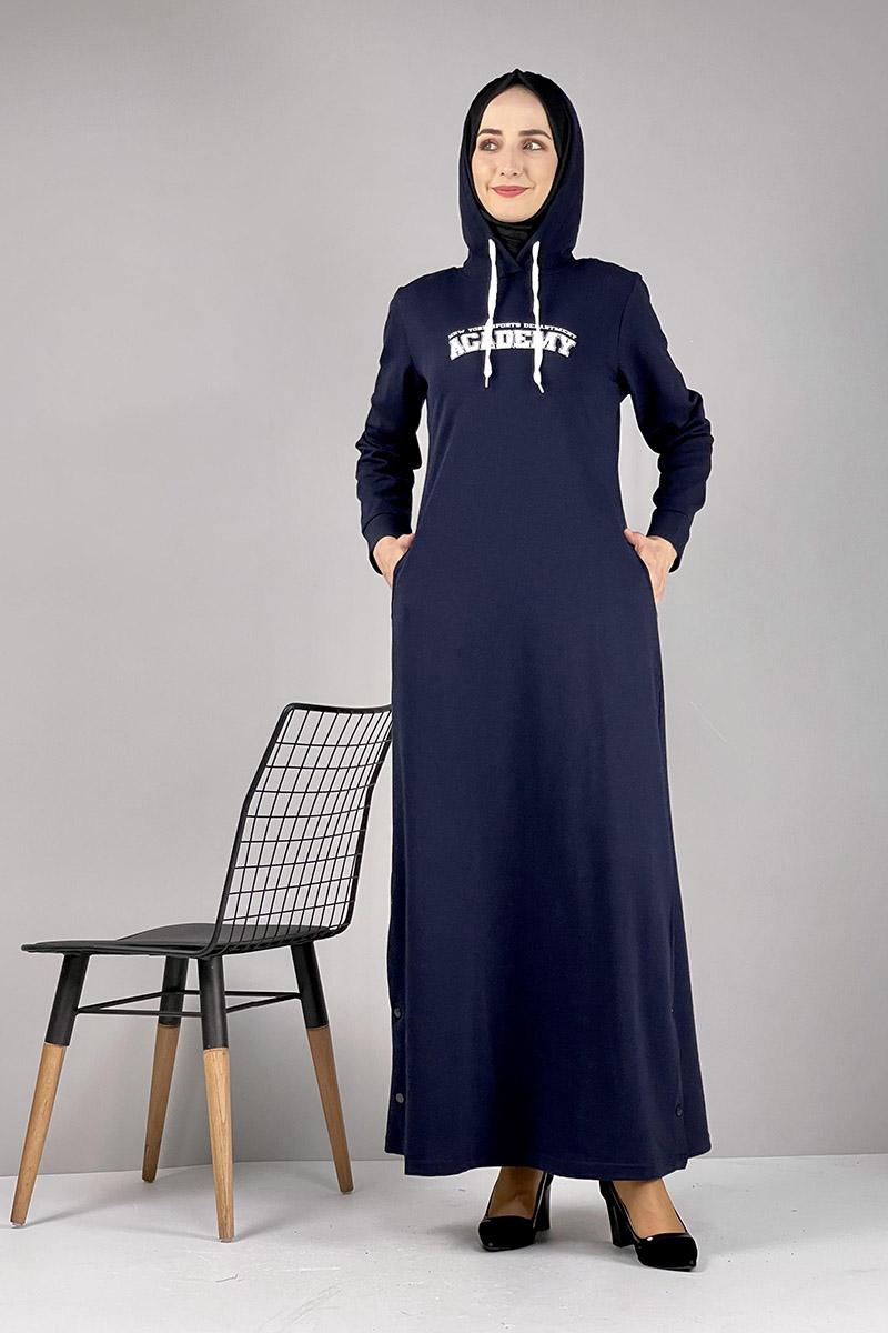 Moda Pinhan - Yırtmaç Detaylı Spor Elbise Lacivert (1)