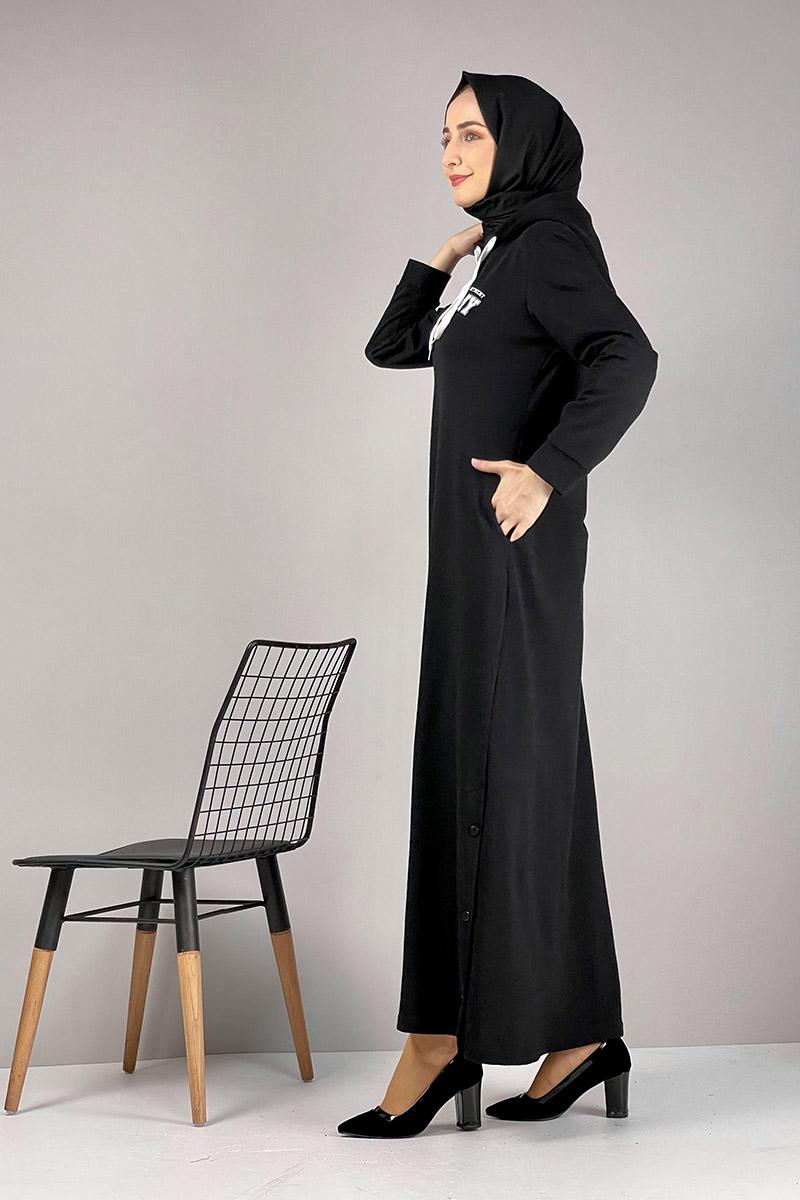 Moda Pinhan - Yırtmaç Detaylı Spor Elbise Siyah (1)