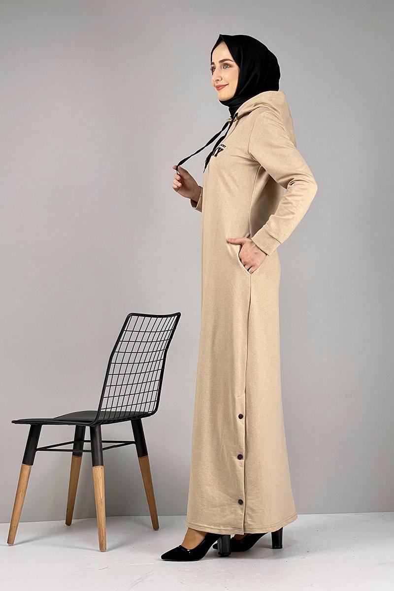 Moda Pinhan - Yırtmaç Detaylı Spor Elbise Vizon (1)